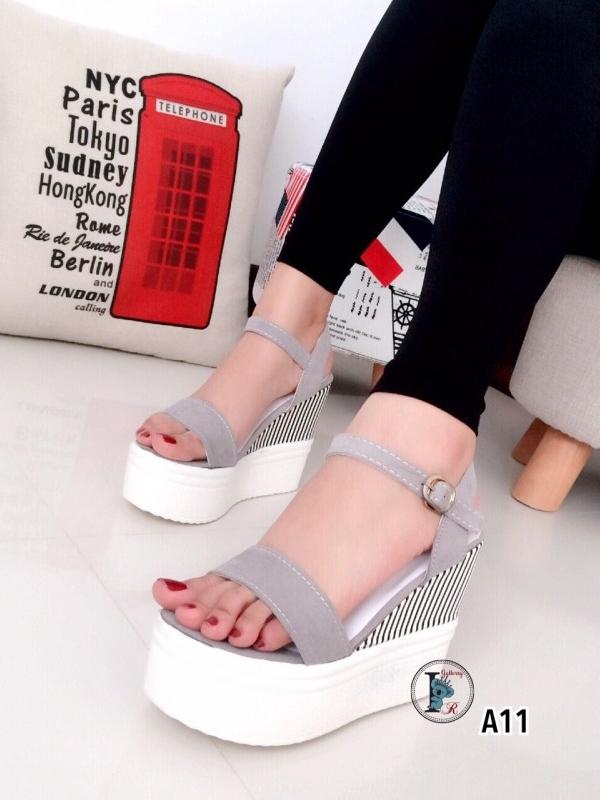 รองเท้าส้นเตารีดแบบรัดส้น สีทูโทน (สีเทา )