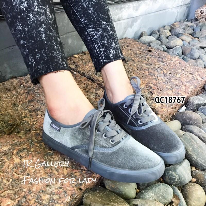 รองเท้าผ้าใบแฟชั่นสีเทา แบบเชือก ผ้ากำมะหยี่ (สีเทา )