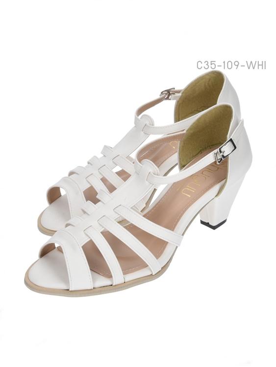 รองเท้าส้นสูงรัดส้น เปิดด้านหน้า (สีขาว )