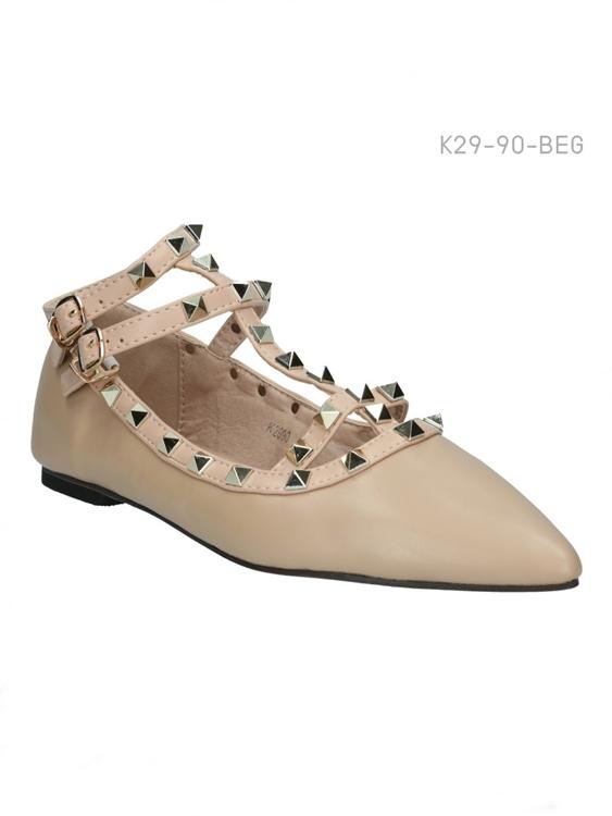 รองเท้าคัทชู สไตล์วาเลนติโน่ (สีเบจ)