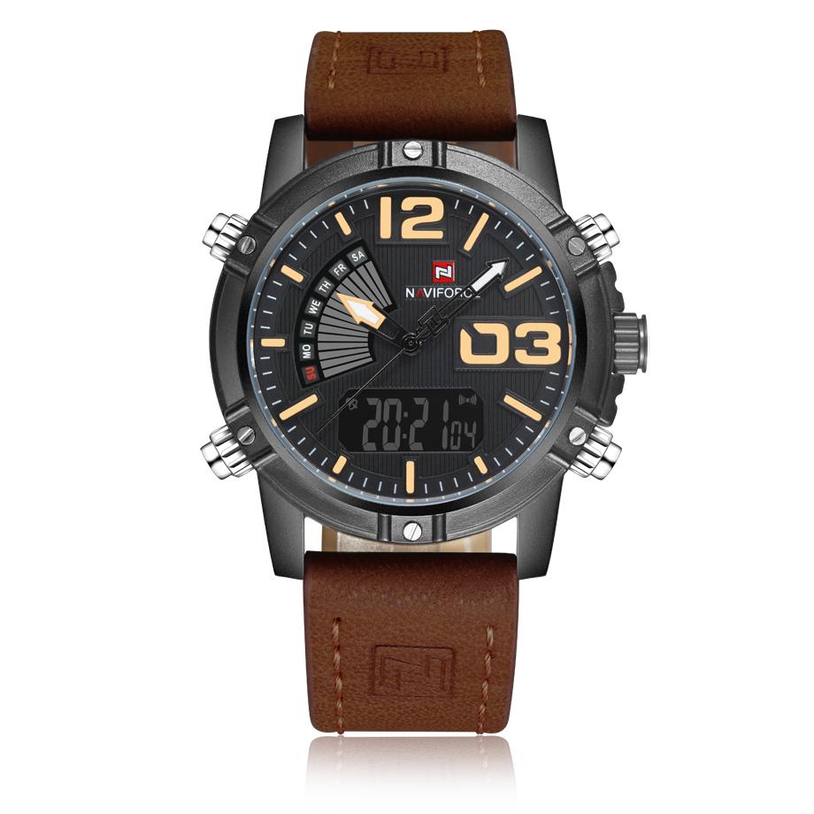 นาฬิกา Naviforce รุ่น NF9095M สีเหลือง ดำ สายน้ำตาล ของแท้ รับประกันศูนย์ 1 ปี ส่งพร้อมกล่อง และใบรับประกันศูนย์ ราคาถูกที่สุด