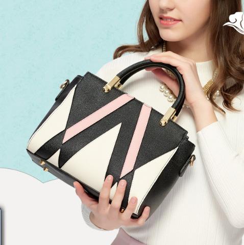 ขายส่งกระเป๋ากระเป๋าถือและสะพายข้าง ตัดเย็บสลับสีแฟชั่นเกาหลี Sunny-913 สีดำ