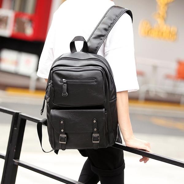 พร้อมส่ง กระเป๋าเป้สะพายหลัง เป้หนัง ใส่คอมพิวเตอร์นักธุรกิจ แฟชั่นเกาหลี รหัส Man-9901 สีดำ