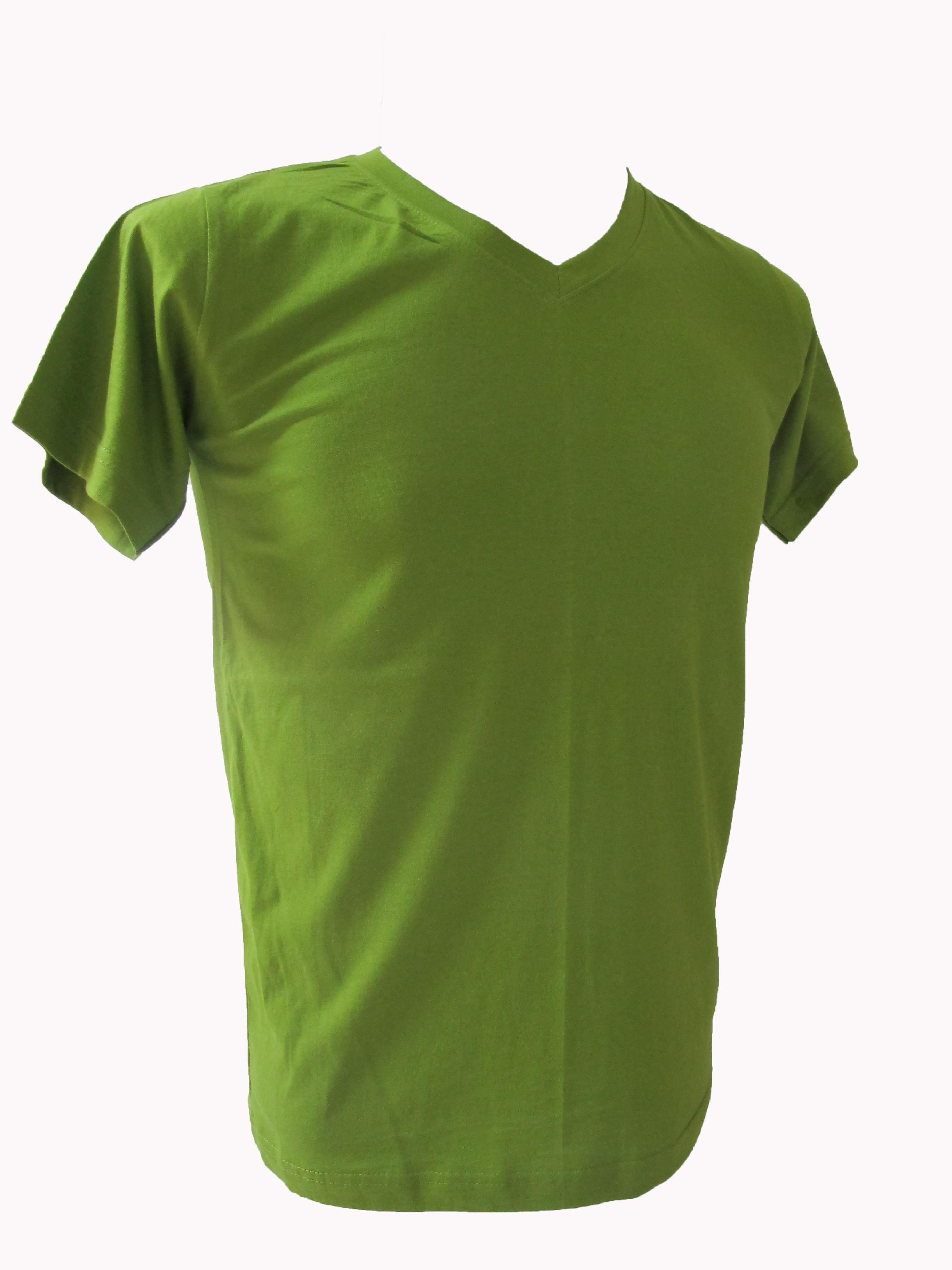 COTTON100% เบอร์32 เสื้อยืดแขนสั้น คอวี สีเขียวขี้ม้าอ่อน