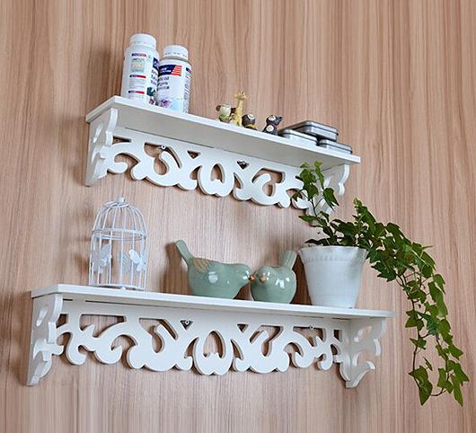 ชั้นวางของติดผนังตกแต่งบ้าน สีขาวฉลุลายสวยหวาน สไตล์วินเทจ