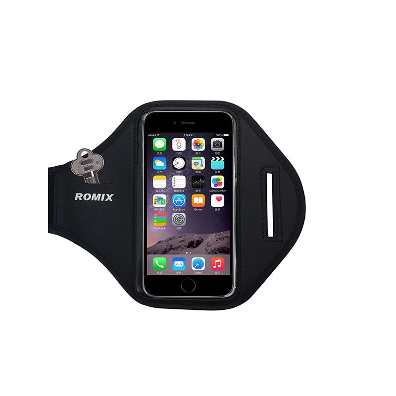 ROMIX สายรัดแขนใส่มือถือ สำหรับออกกำลังกายไม่เกิน 5.5 นิ้ว (Black)