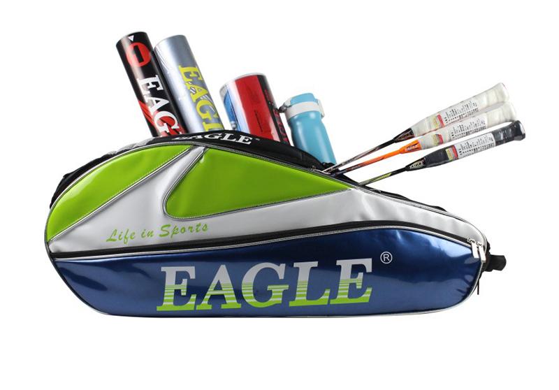 กระเป๋า Eagle ใบกลางหนังแก้วสีน้ำเงิน/เขียว/ขาว