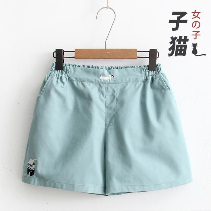 กางเกงขาสั้นเอวยืด ปักแต่งลาย (มีให้เลือก 5 สี)