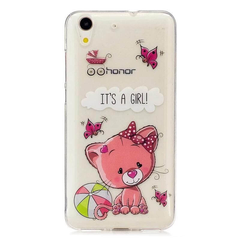 เคส huawei y6ii เคสtpuนิ่ม หมีน้อยน่ารักสีชมพู