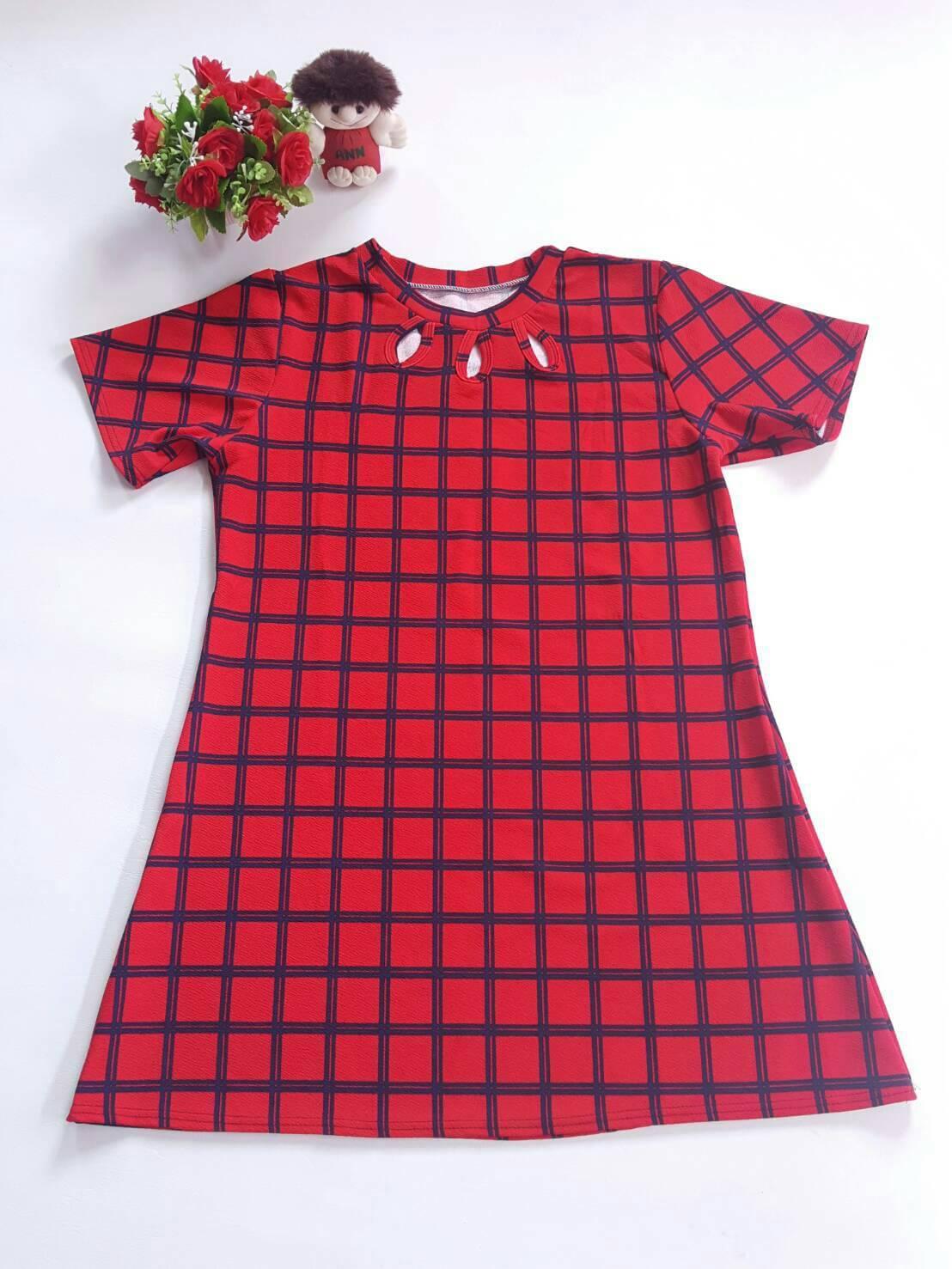 DRESS ไซส์อวบ อก 42 เดรส ผ้าผ้าทอหนังไก่ เนื้อผ้ายืดหยุ่นดี อก42 - 46 ยาว 33