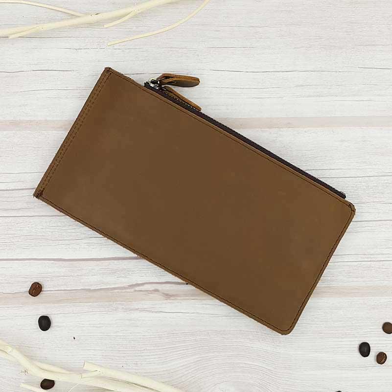 กระเป๋าสตางค์หนังแท้ ทรงยาว ใส่บัตร 20 ช่อง 2 ซิป สีน้ำตาลเข้ม