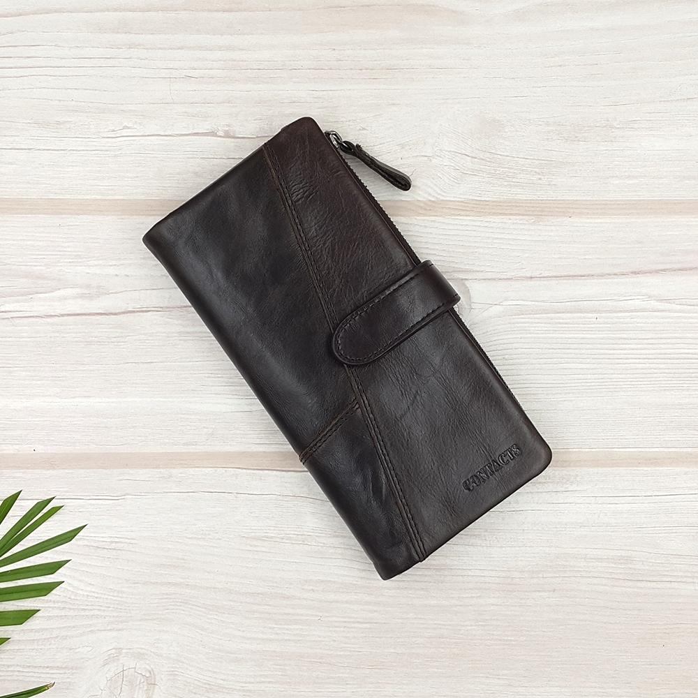 กระเป๋าสตางค์หนังแท้ ทรงยาว แยกส่วนได้ สีน้ำตาลเข้ม