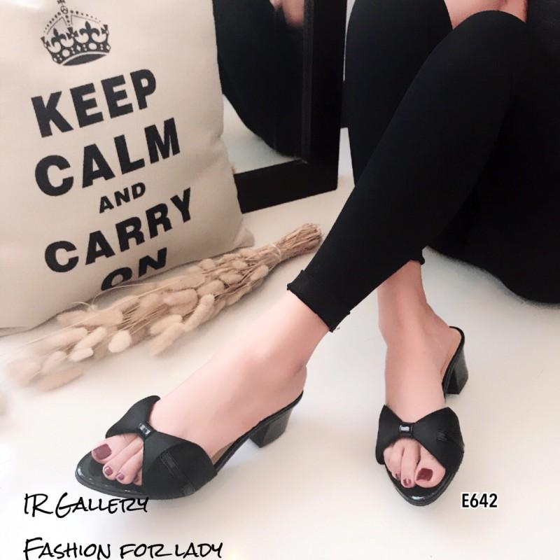 รองเท้าสวมส้นเหลี่ยมโบว์ E642-ดำ (สีดำ)