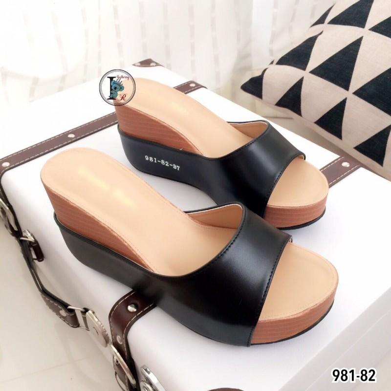 รองเท้าแตะเสริมส้นแบบสวม 981-82-ดำ (สีดำ)