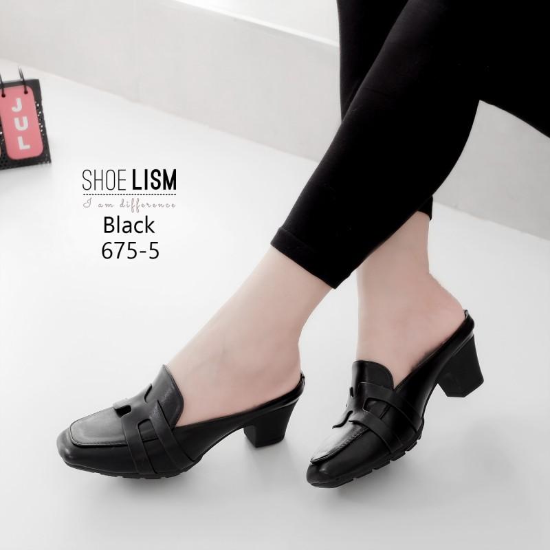 รองเท้าคัชชูเปิดส้นสีดำ 675-5-ดำ