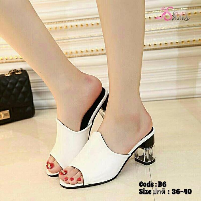 พร้อมส่ง รองเท้าส้นสูงเปิดส้นสีขาว พียูนิ่ม ส้นแก้ว แฟชั่นเกาหลี [สีขาว ]