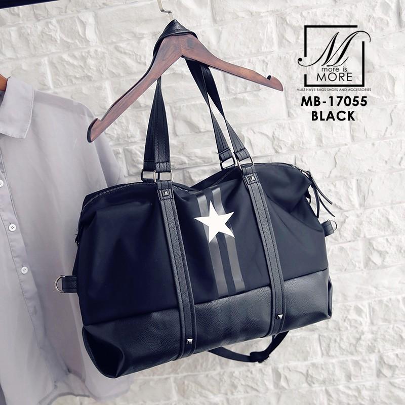 กระเป๋าสะพายกระเป๋าถือกระเป๋าเดินทาง TRAVEL BAG ดีไซน์เก๋ส์ MB-17055-BLK (สีดำ)
