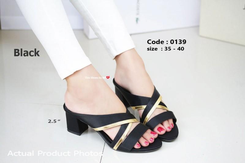 พร้อมส่ง รองเท้าส้นตันสีดำ เปิดส้น Chunky Sandals แฟชั่นเกาหลี [สีดำ ]