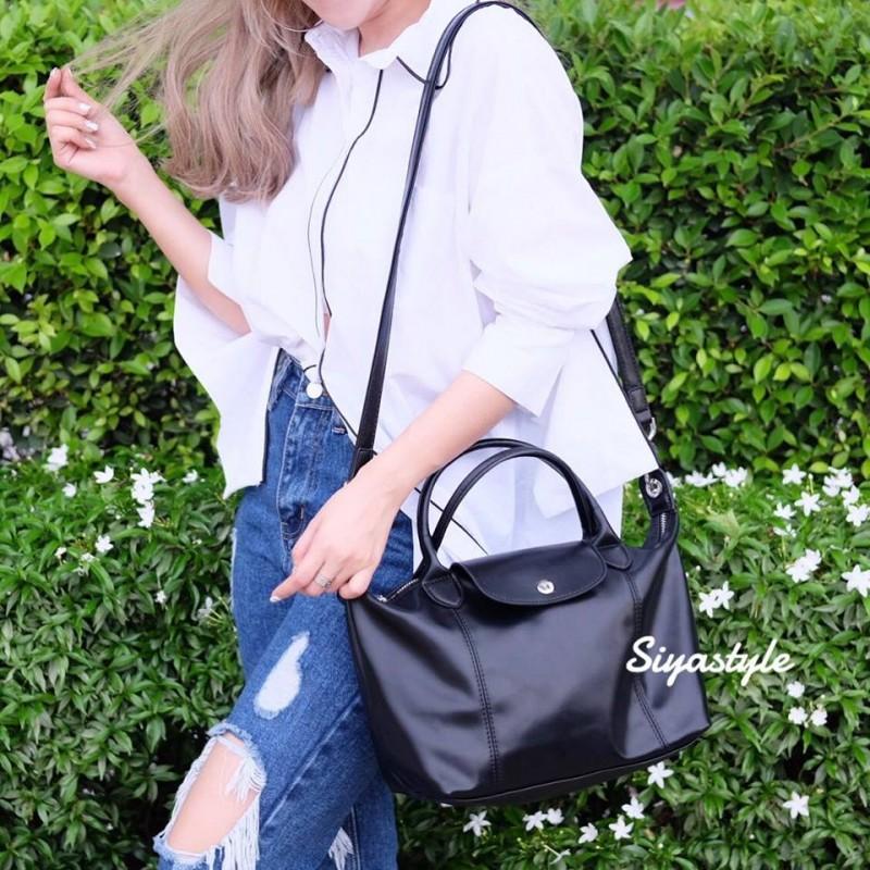 กระเป๋าสะพายแฟชั่น กระเป๋าสะพายข้างผู้หญิง ลองชอมหนัง Style [สีดำ ]