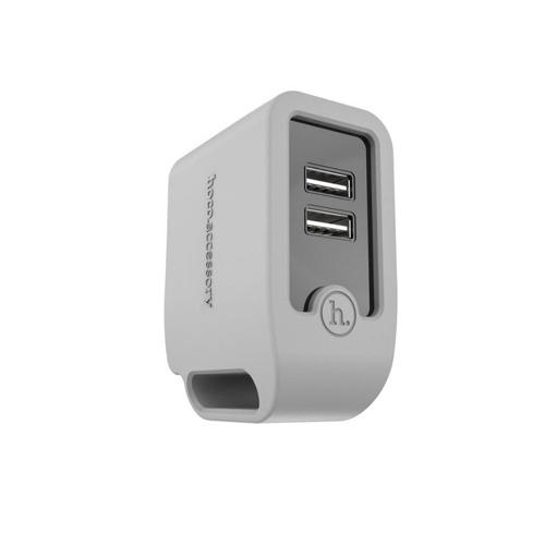 เต้าชาร์จ USB 2 หัว HOCO แท้ สำหรับพกพา (สีเทา)