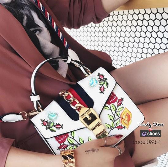 กระเป๋าถือ กระเป๋าสะพายข้างผู้หญิง งานปักดีเทลสวยเนี๊ยบ [สีขาว ]