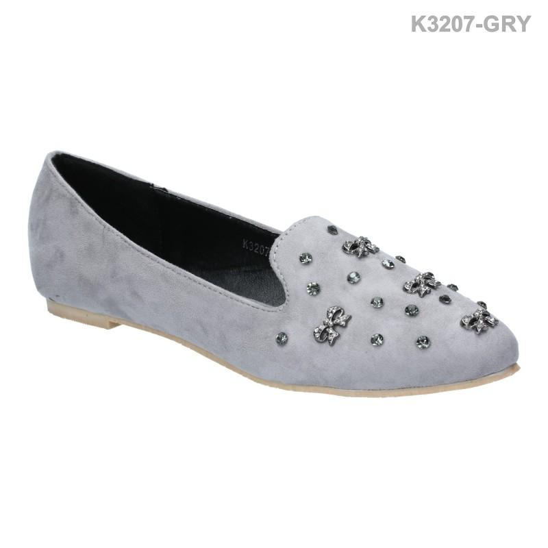 พร้อมส่ง รองเท้าส้นเตี้ย K5025-DGRY [สีเทาเข้ม]