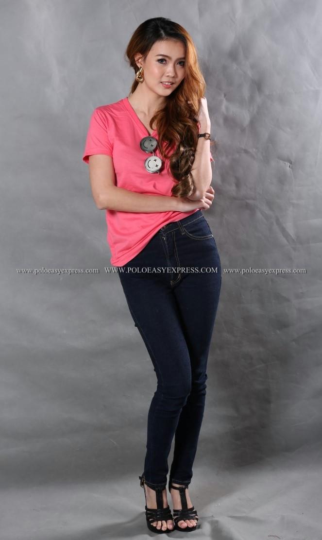 M เสื้อยืด สีชมพู Sweety คอวี แขนสั้น Size M