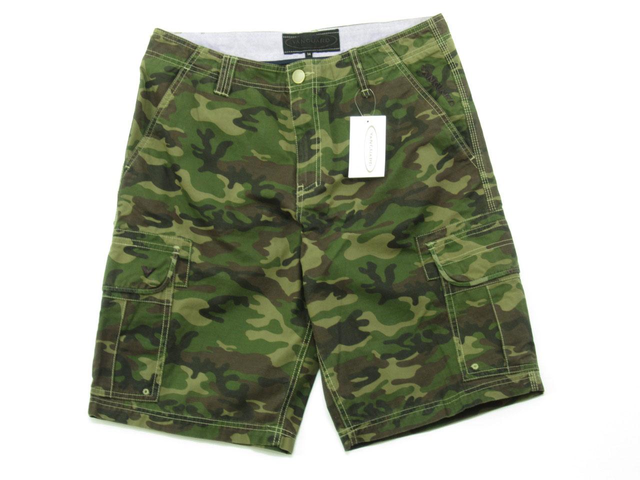 Green Camo Cargo Shorts for Men - size 34