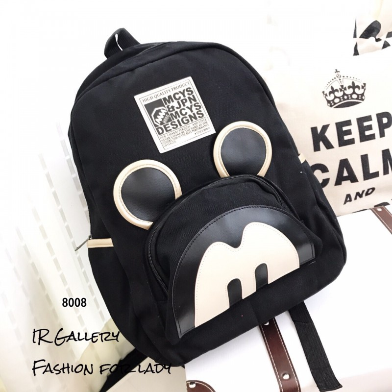 กระเป๋าเป้ผู้หญิง กระเป๋าสะพายหลังแฟชั่น ผ้าแคนวาส Style Mcys [สีดำ ]