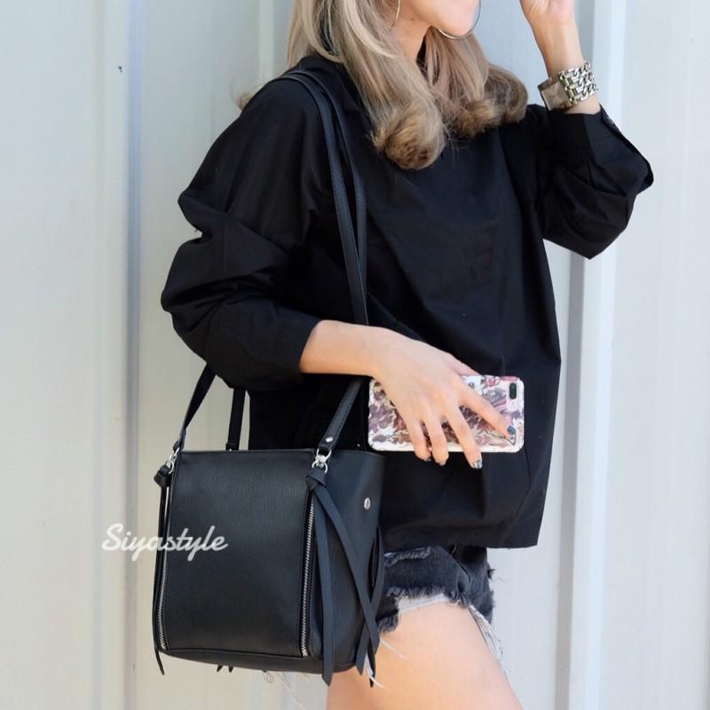 กระเป๋าสะพายแฟชั่น กระเป๋าสะพายข้างผู้หญิง ซิปข้าง สุดชิค [สีดำ]