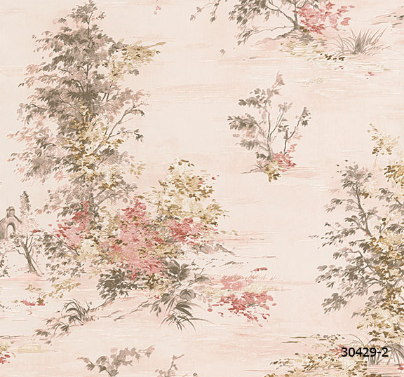 วอลเปเปอร์ลาย ต้นไม้ ธรรมชาติ สีชมพู (สีหลัก)