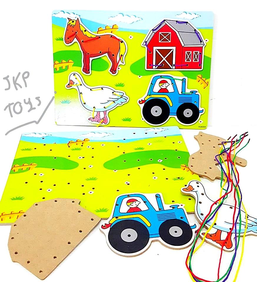 ของเล่นเสริมพัฒนาการ ของเล่นไม้ ร้อยเชือกศิลปะลายฟาร์มสัตว์