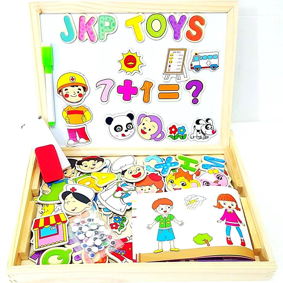 ของเล่นเสริมพัฒนาการ ของเล่นไม้ กระดานเเม่เหล็กเเละกระดานดำชุด เเต่งตัวตุ๊กตา ตัวอักษรเเละ ตัวเลข (Figure Numbers Letters)