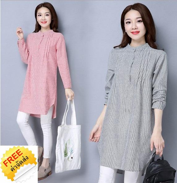 เสื้อคอจีนไซส์ใหญ่แฟชั่นเกาหลี