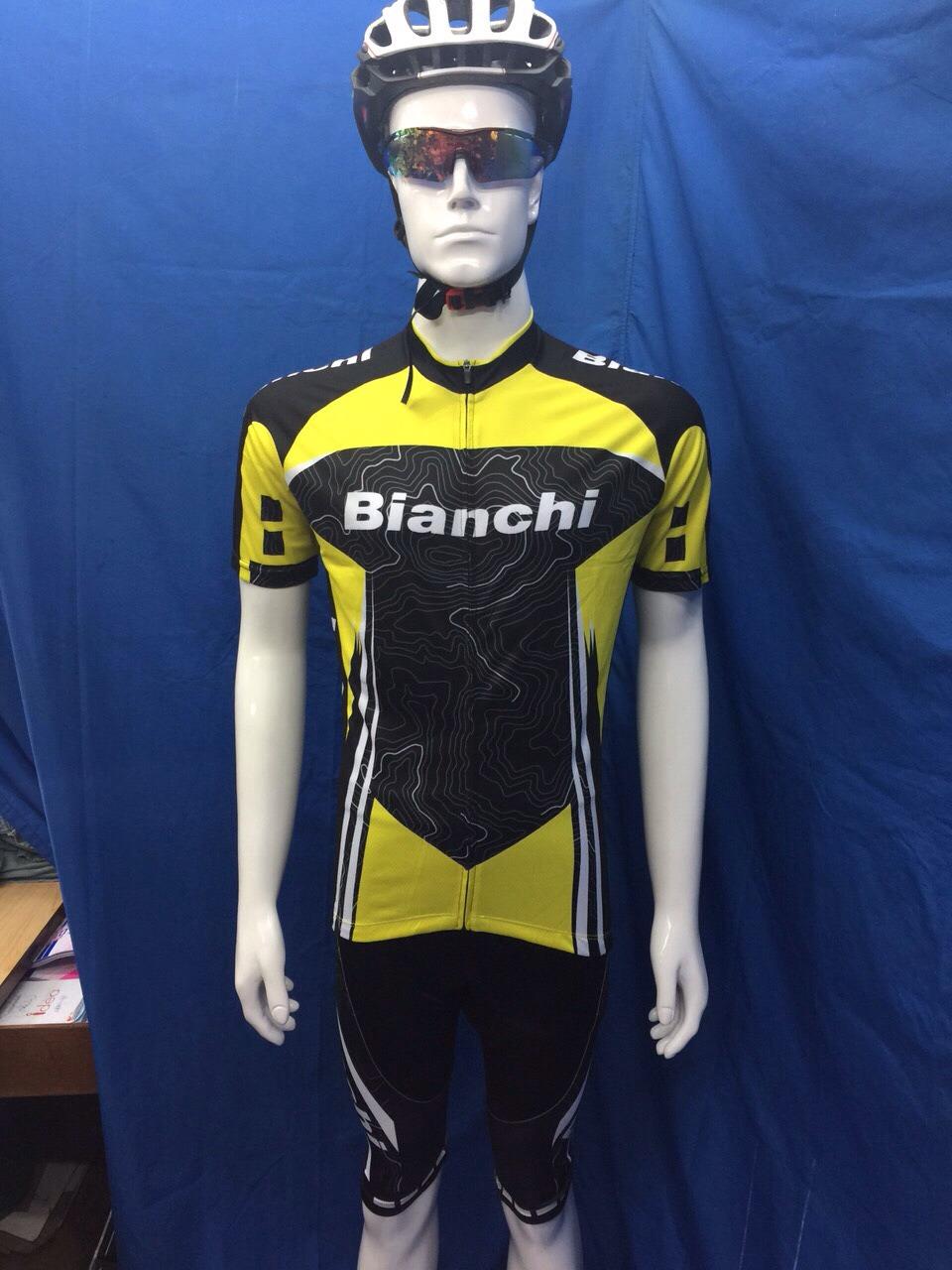 ชุดปั่นจักรยานแขนสั้น BIANCHI เหลืองดำ (แอดไลน์ @pinpinbike ใส่ @ ข้างหน้าด้วยนะคะ)