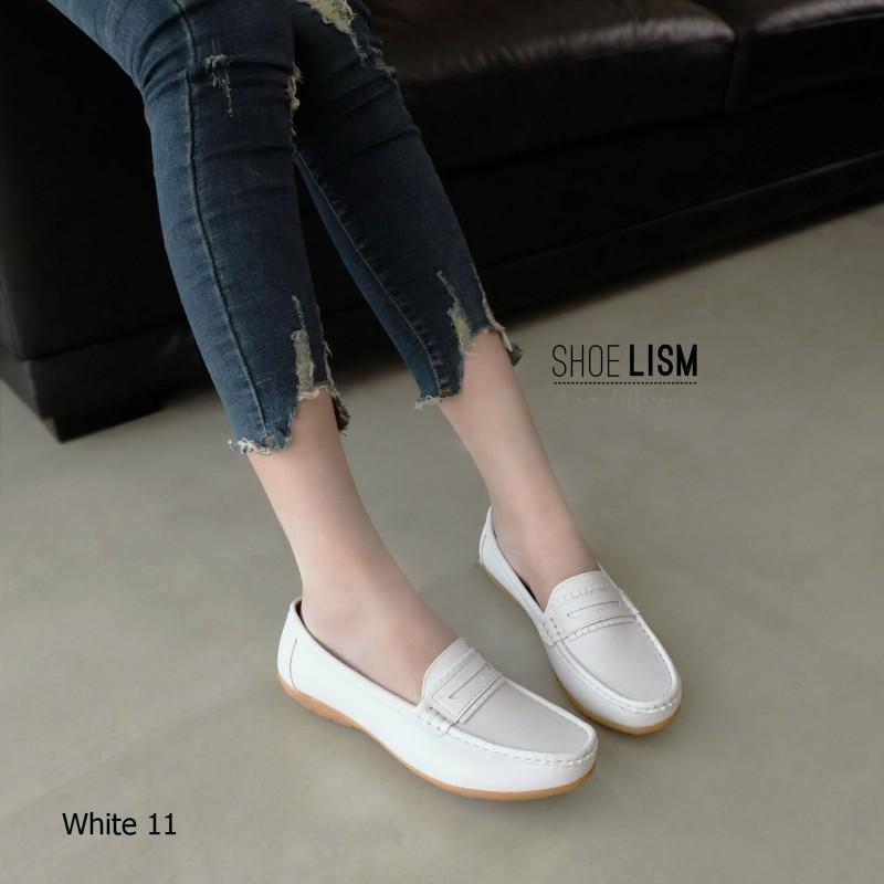 รองเท้าคัทชูพยาบาล สไตล์ Loafer (สีขาว)