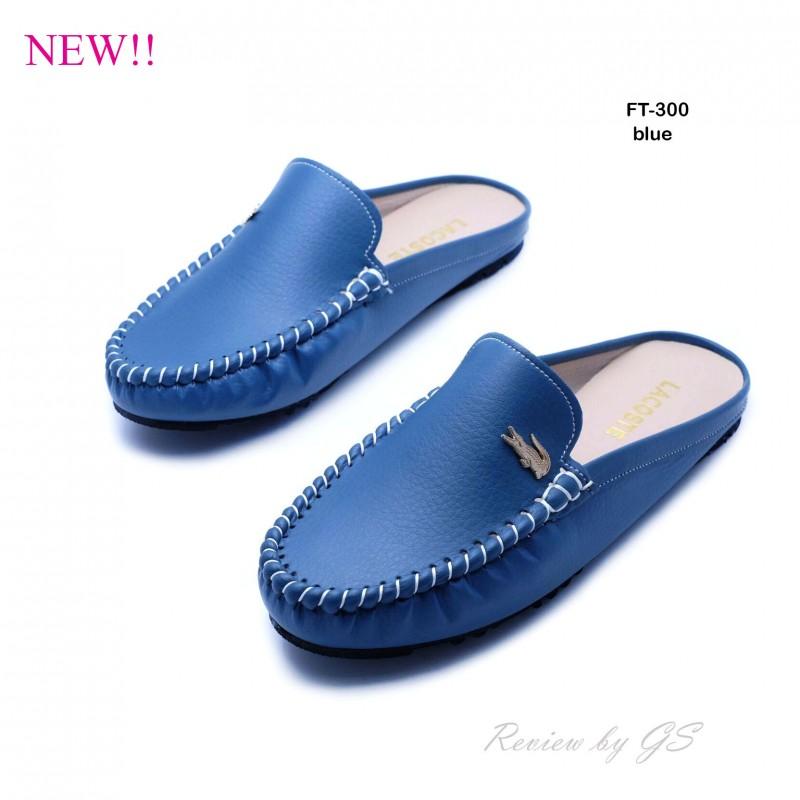 รองเท้าส้นแบน สไตล์สวมหัว เปิดส้น สไตล์เกาหลี (สีน้ำเงิน )