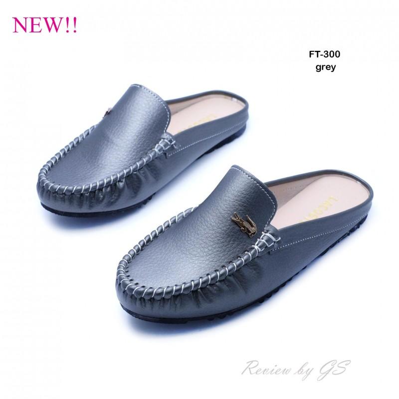 รองเท้าส้นแบน สไตล์สวมหัว เปิดส้น สไตล์เกาหลี (สีเทา )