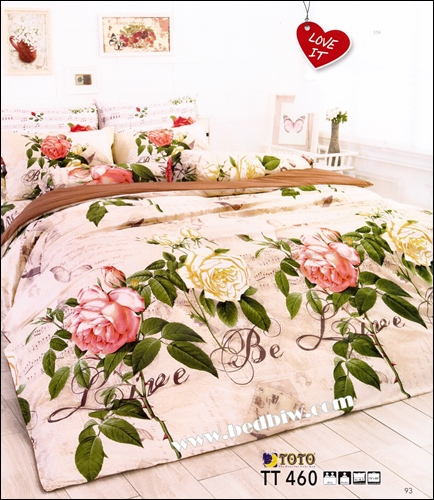 ชุดเครื่องนอน ผ้าปูที่นอนลายใบไม้ดอกหญ้า TT460
