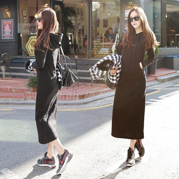 เสื้อกันหนาวแบบยาวสีดำผ้ายืดนิ่ม แขนยาวมีฮุ๊ด