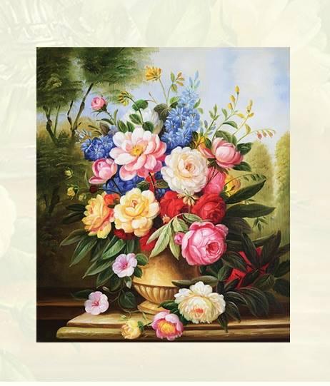 แจกันดอกไม้ ภาพติดเพชร ครอสติชคริสตรัล โมเสก Diamond painting