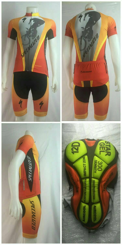 ชุดปั่นจักรยานแขนสั้น SPECIALIZED สีส้ม เป้าเจล 12D (แอดไลน์ @pinpinbike ใส่ @ ข้างหน้าด้วยนะคะ)