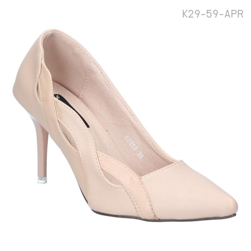 รองเท้าส้นสูง หัวแหลม แต่งขอบลายสาน ใส่แล้วดูแพง (สีแอปริคอท )