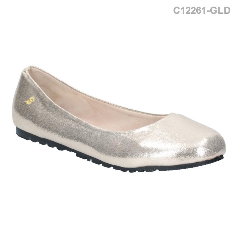รองเท้าส้นแบน หุ้มส้น หัวมน (สีทอง )