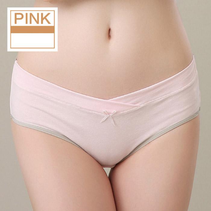 กางเกงในคนท้อง เอวต่ำ ผ้าคอตตอน ใส่สบาย ระบายอากาศได้ดี สีชมพูขอบเทา ไซส์ L