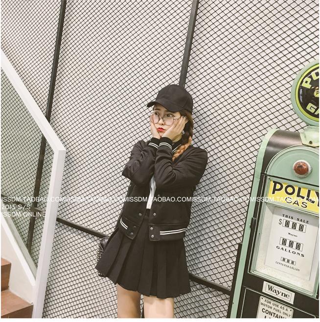 เสื้้อกันหนาวแฟชั่นเกาหลีสีดำแขนยาว