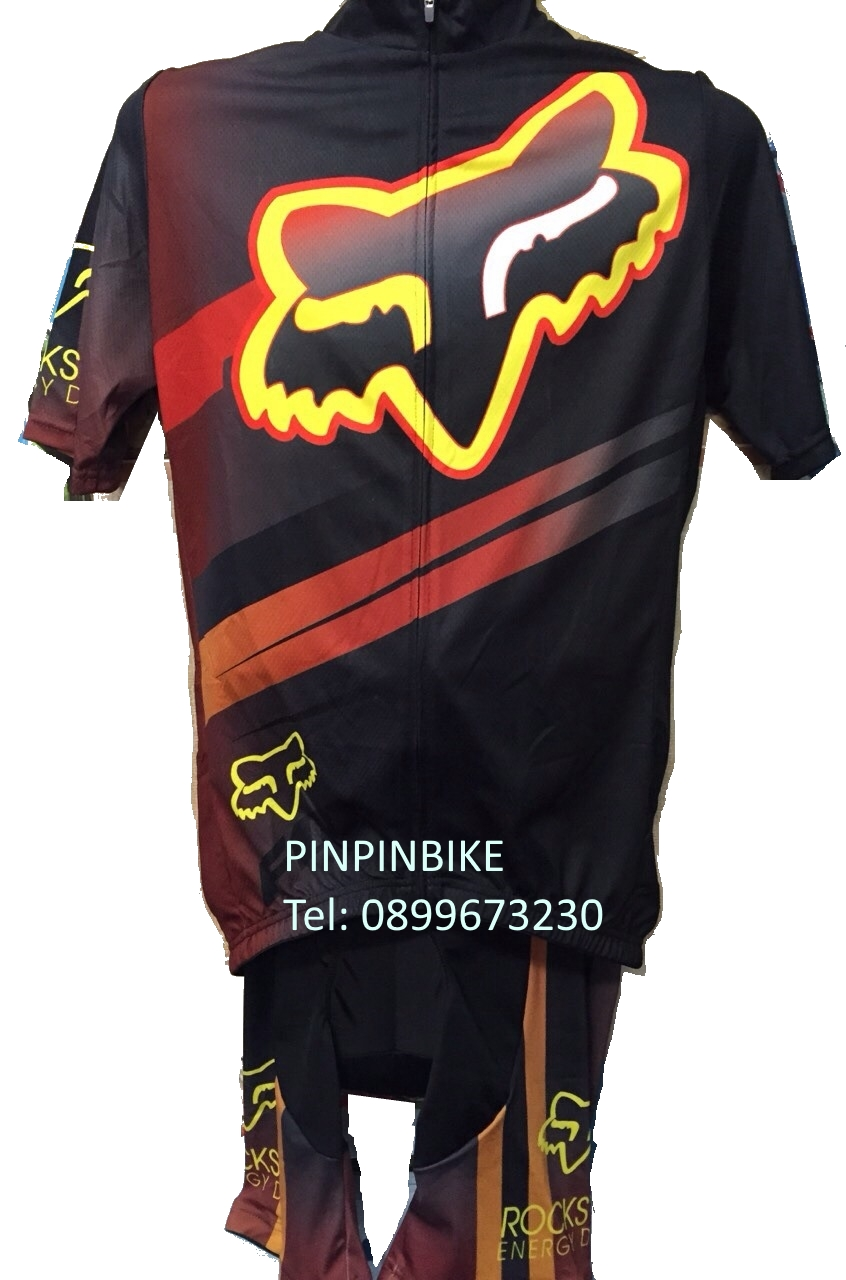ชุดปั่นจักรยานแขนสั้น FOX สีดำเหลือง เป้าเจล 5D (แอดไลน์ @pinpinbike ใส่ @ ข้างหน้าด้วยนะคะ)