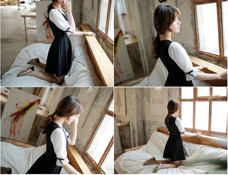 ชุดเดรสแฟชั่นเกาหลีสีกรมแขนสั้นสีขาว