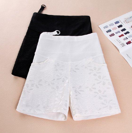 กางเกงคนท้อง ขาสั้น ด้านหน้าตกแต่งลูกไม้ สีขาว