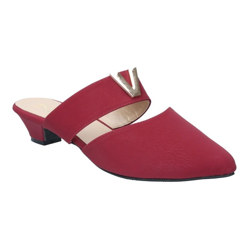 รองเท้าลำลอง ส้นเตี้ย หัวแหลมเปิดส้น (สีแดง )